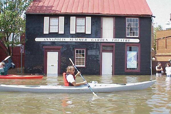 Kayaking down Compromise Street during Hurricane Isabel 2003