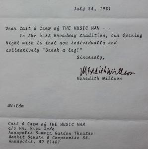 1981 Music Man Letter