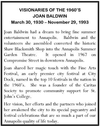 Plaque Honoring Joan Baldwin