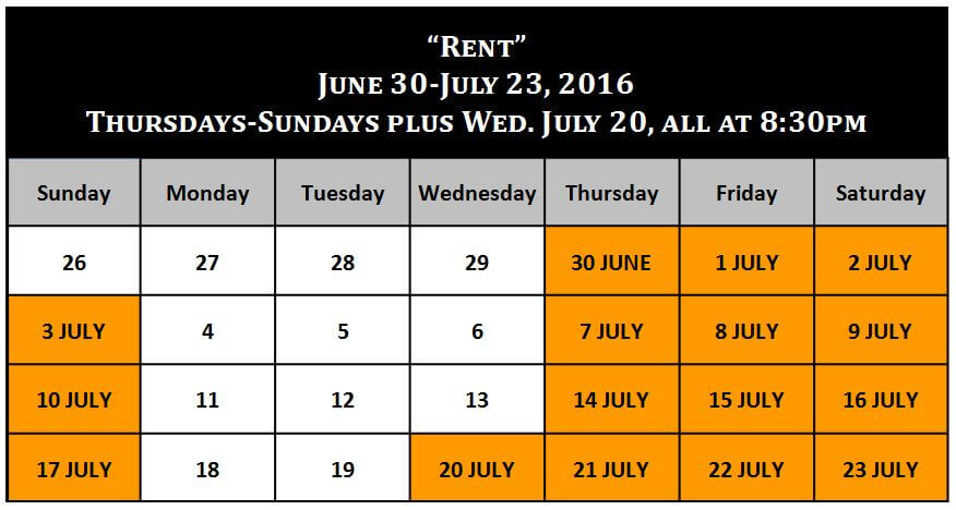 Performance Calendar - Rent